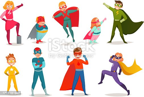 Retro set of kids superheroes boys and girls in colorful costumes, in various poses isolated vector illustration