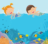 Vector kids swimming background