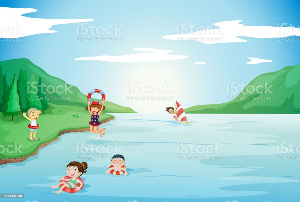 Kids swimming in water royalty-free stock vector art