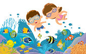 Vector kids swimming underwater