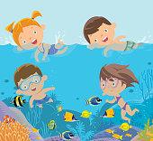 Vector kids swimming