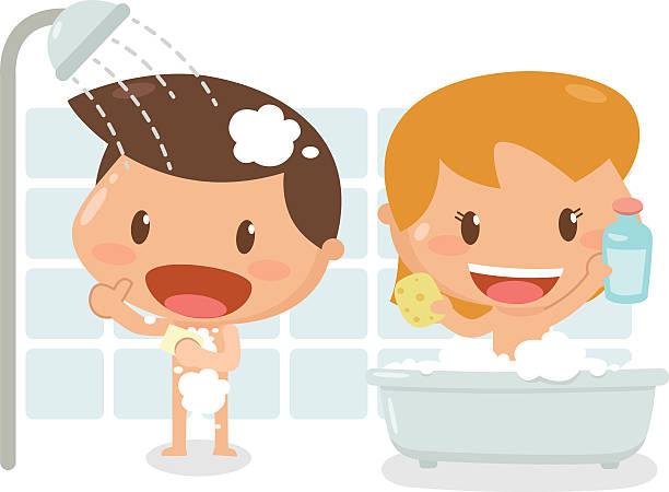 royalty free boy cartoon in a bath room taking a shower clip art vector images illustrations. Black Bedroom Furniture Sets. Home Design Ideas