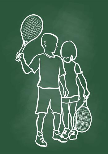 Kids Tennis Friends Posing Chalkboard