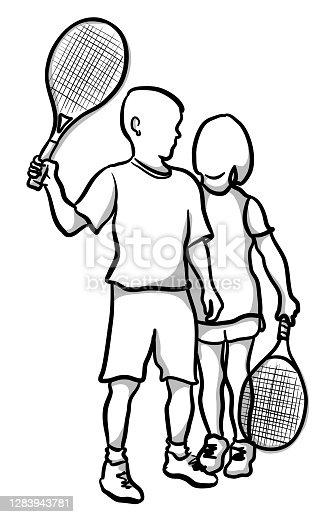 istock Kids Tennis Friends Posing 1283943781