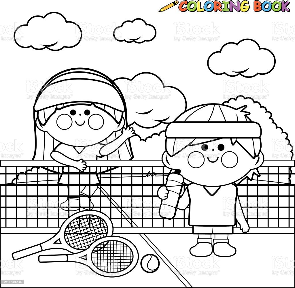 Kids tennis players at tennis court coloring book page vector art illustration