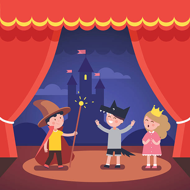 Kids theater performance show on scene - Illustration vectorielle