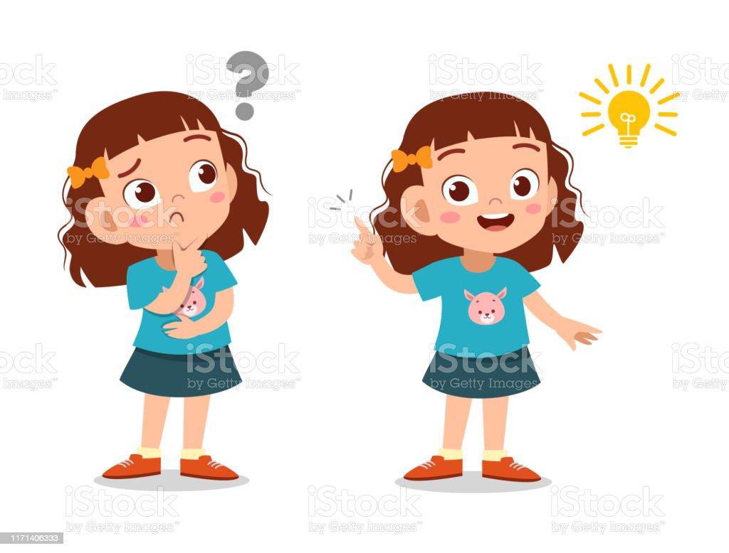 Ilustración de Niños Pensando Idea De Ilustración Vectorial y más ...