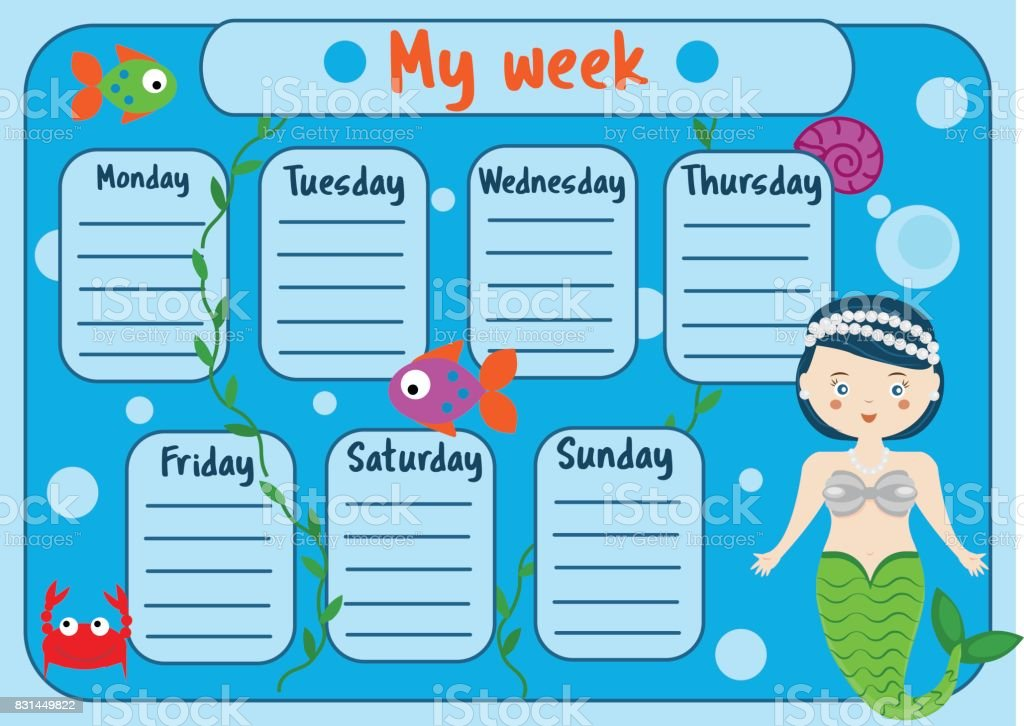 Kids timetable with cute mermaid character weekly planner for kids timetable with cute mermaid character weekly planner for children girls school schedule design maxwellsz