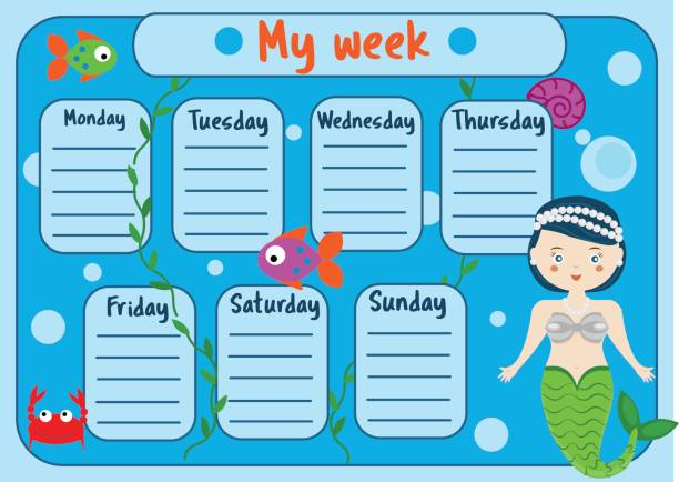 kids timetable with cute mermaid character. weekly planner for children girls. school schedule design template - wildlife calendar stock illustrations, clip art, cartoons, & icons
