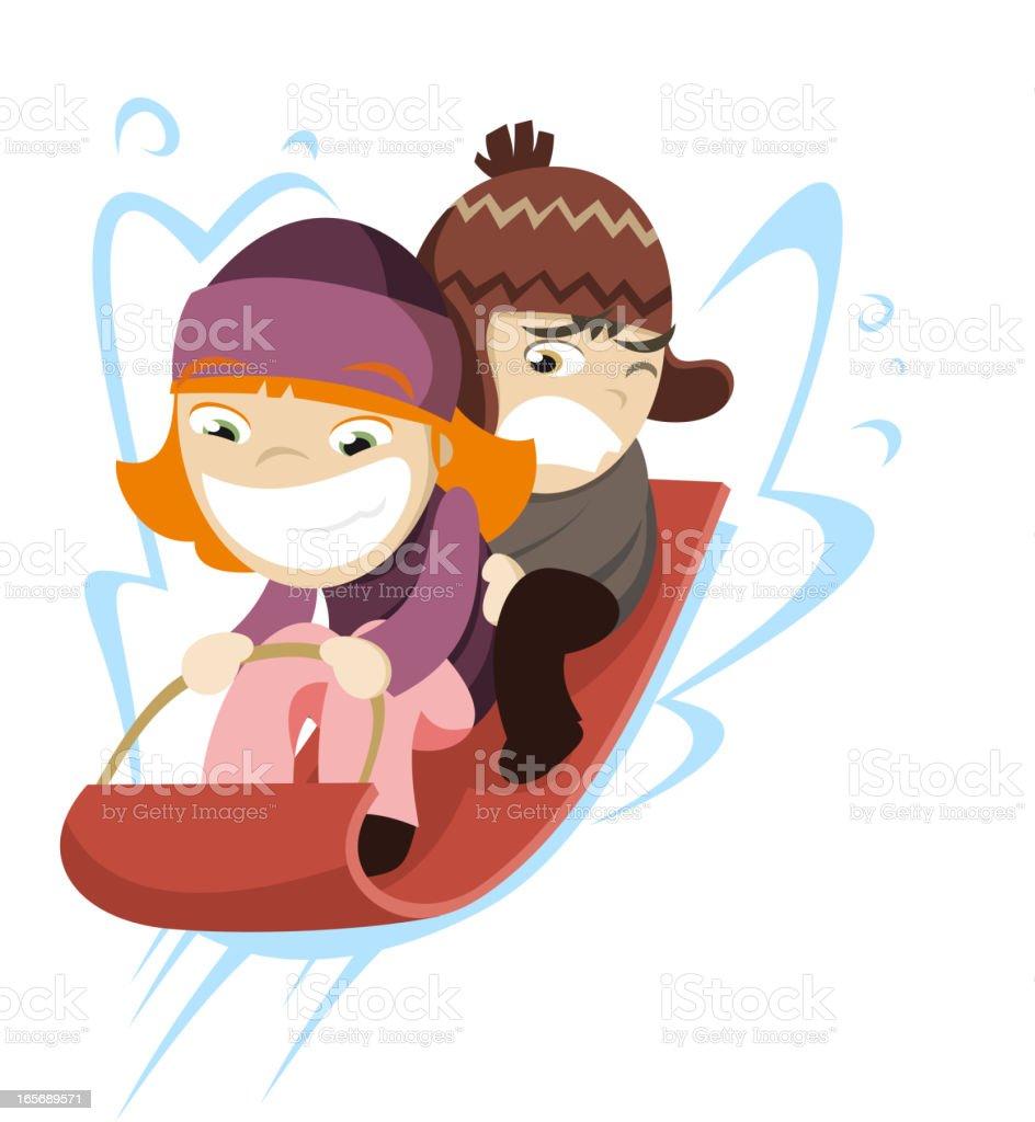 royalty free kids tobogganing toboggan sled fast snow