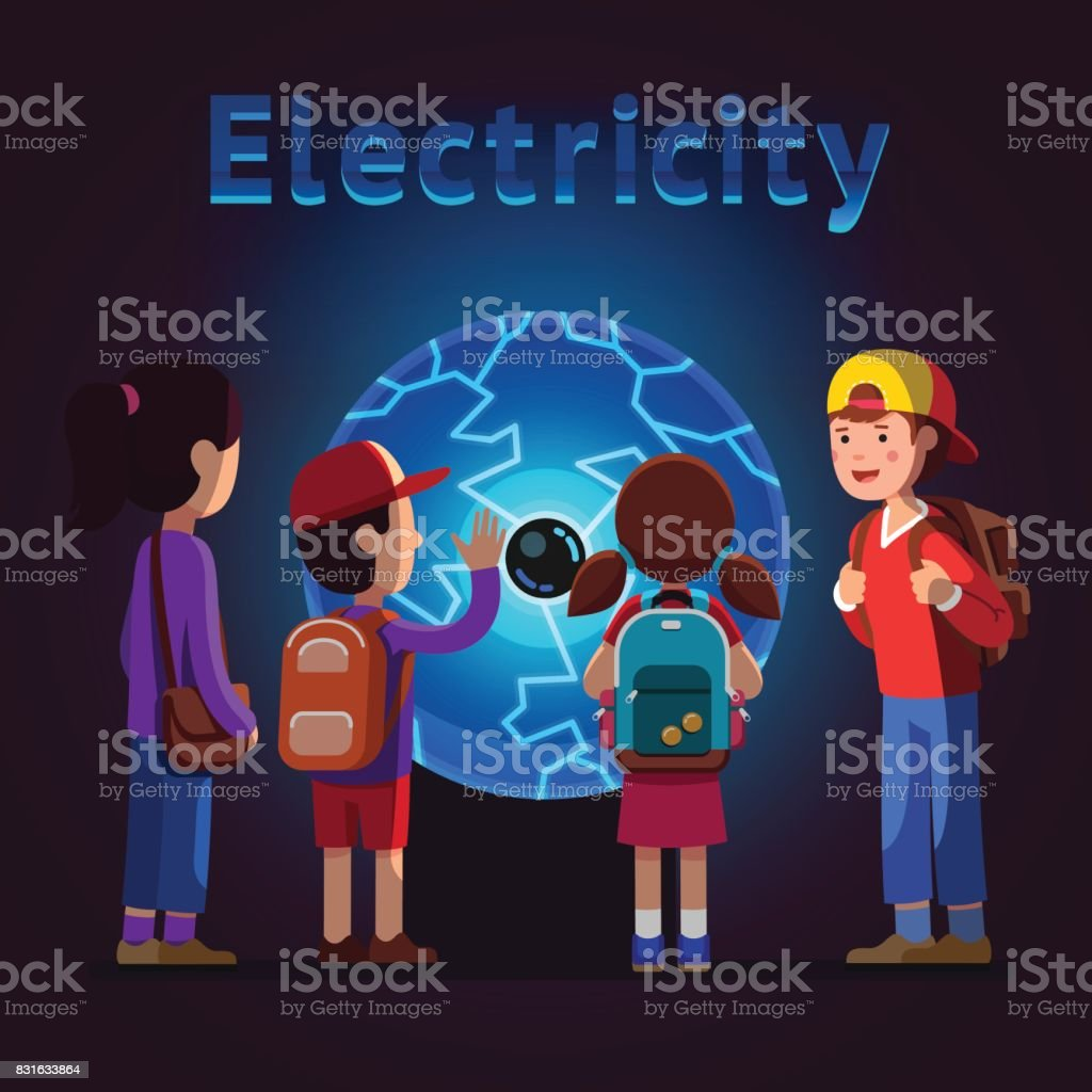 Kids touching plasma ball at electricity museum vector art illustration