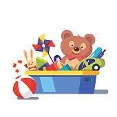 Kids toy box full of toys. Modern flat style vector illustration cartoon clipart.
