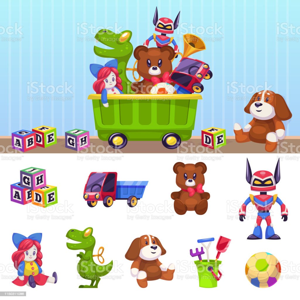 Kids toys box. Children toy container with playing blocks cars house...