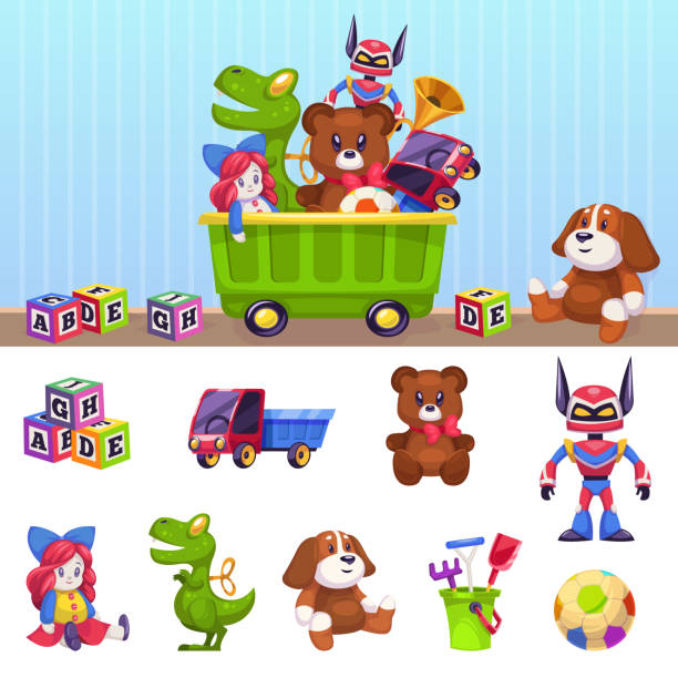 Kids toys box. Children toy container with playing blocks cars house and beer isolated vector cartoon set Kids toys box. Children toy container with playing blocks cars house and bear. Childhood isolated vector cartoon set stuffed stock illustrations