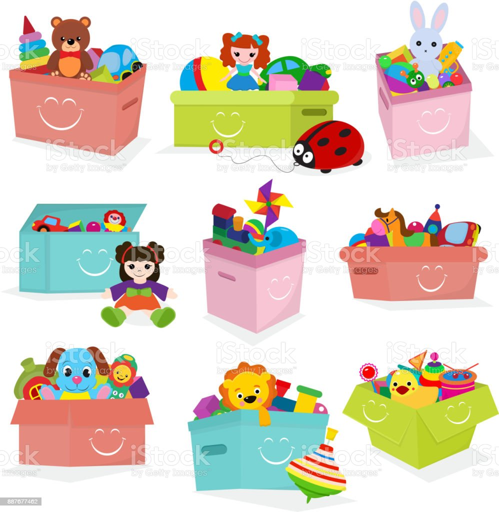 Kids toys box vector baby container with toyshop teddy bear play in babyroom boxes set illustration isolated on white background - ilustração de arte vetorial