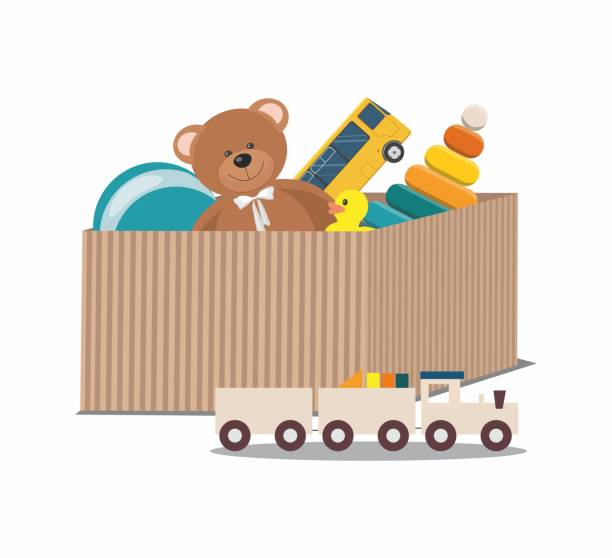 Kids toys concept. Teddy Bear and clorful toys, wooden toy train in paper box Kids toys concept. Teddy Bear and clorful toys, wooden toy train in paper box. Vector Illustration stuffed stock illustrations