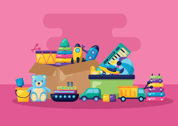 kids toys design - zabawka stock illustrations