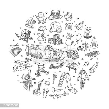 Kids toys vector doodles set.