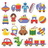 Kids toys. Game toy peg-top teddy bear drum yellow duckling dinosaur rocket childrens cubes robot. Baby toddler toy cartoon vector