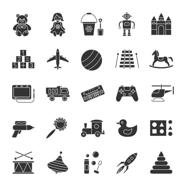 kinder spielzeug symbole - puppenkurse stock-grafiken, -clipart, -cartoons und -symbole