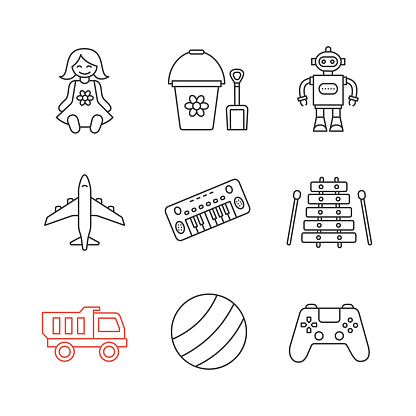 Kids toys icons