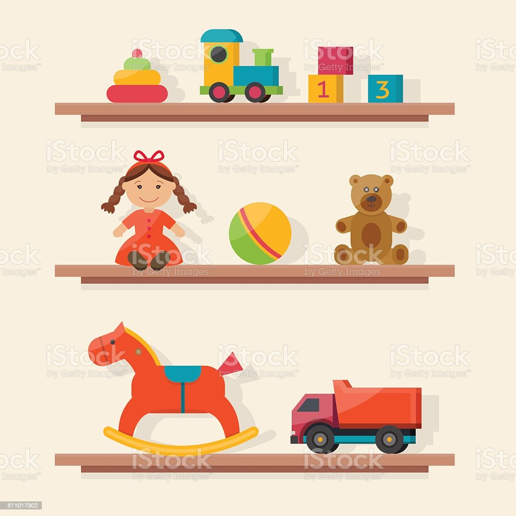 Kids toys in boxes. vector art illustration