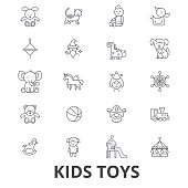 Kids toys, playing, baby toy, children toy, kids room, teddy bear, yule, pirate line icons. Editable strokes. Flat design vector illustration symbol concept. Linear signs isolated on white background