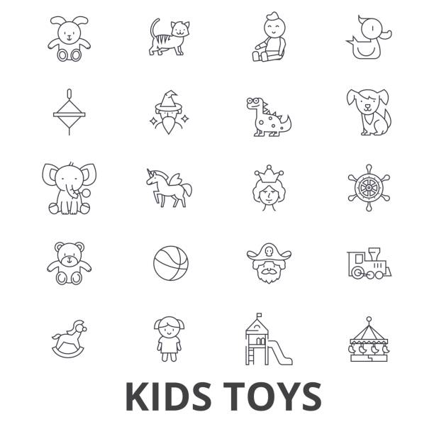 kids toys, playing, baby toy, children toy, kids room, teddy bear, yule, pirate line icons. editable strokes. flat design vector illustration symbol concept. linear signs isolated - unicorn line drawings stock illustrations, clip art, cartoons, & icons