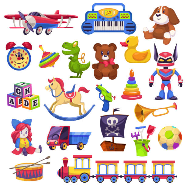 kids toys set. toy kid child preschool house baby game ball train yacht horse doll duck boat plane bear car pyramid - zabawka stock illustrations