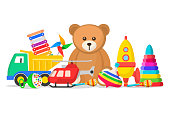 Kids toys set. Collection for a child to play with, doll, model car, teddy bear, toys for fun and amusement. Vector flat style cartoon illustration isolated on white background