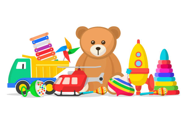 kids toys set - zabawka stock illustrations