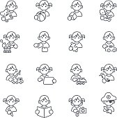istock Kids toys thin line icons 477469188