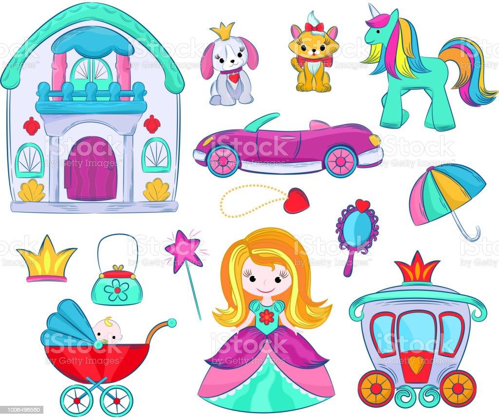 Les Vecteur Jouets Jeux Girlie Pour Cartoon Dans De Enfants lFJcTK1