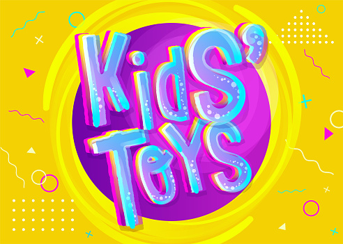 Kids' Toys Vector Illustration in Cartoon Style. Bright and Colorful Banner for Kids Toy Shop or Store. Funny Sign for Game Room. Yellow Background with Childish Pattern.