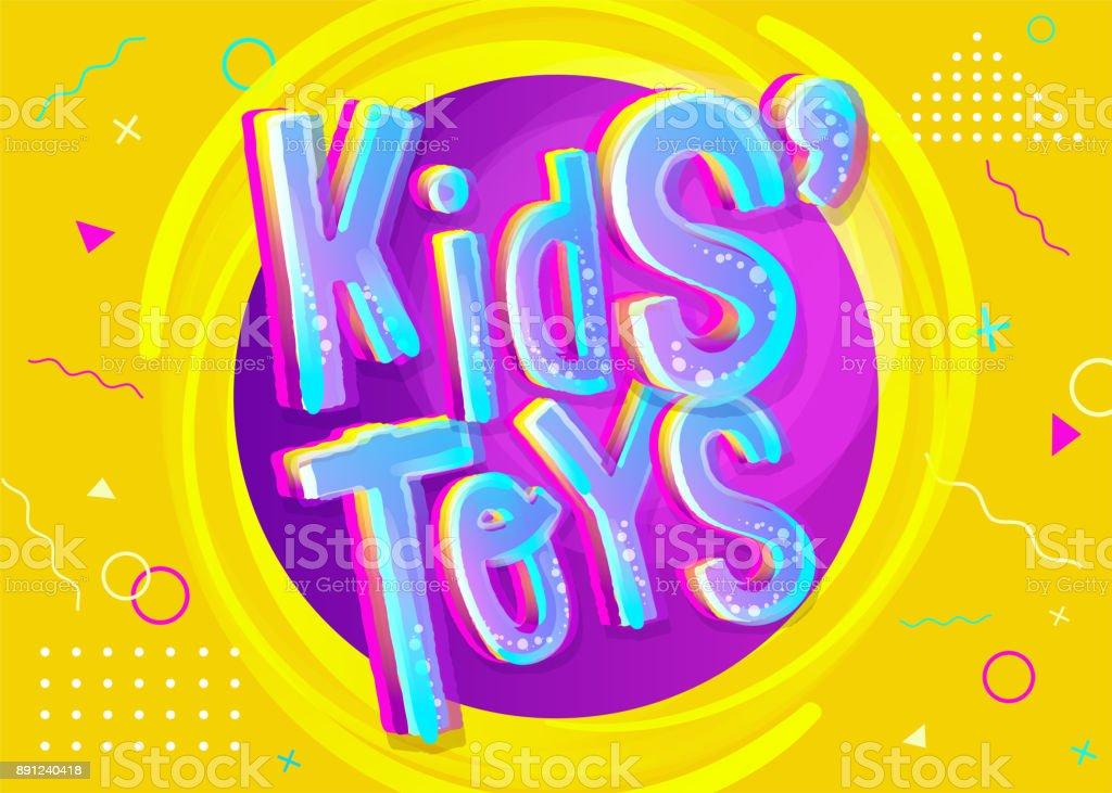Juguetes Vector ilustración los niños en estilo de dibujos animados. Banner luminoso y colorido para niños juguete tienda o almacén. Divertido cartel para sala de juegos. Fondo amarillo con patrón infantil. - ilustración de arte vectorial