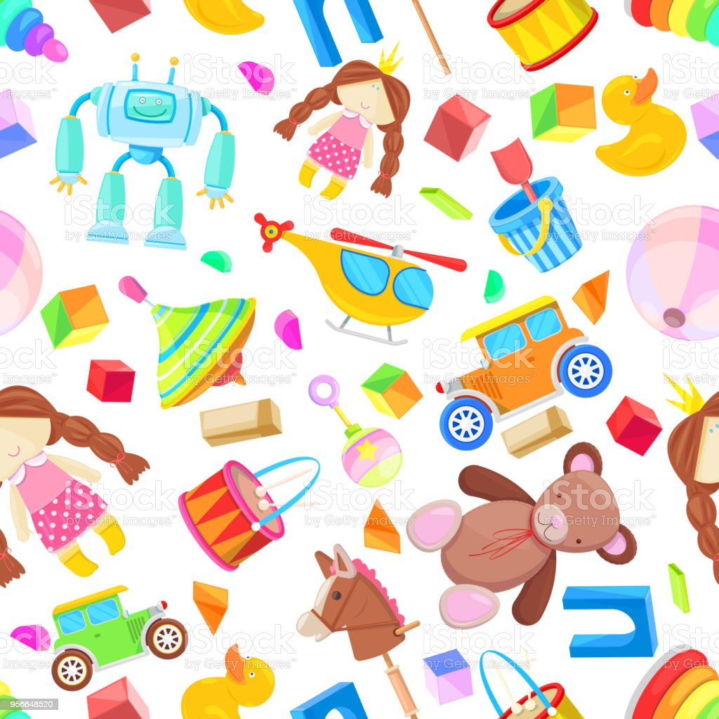 Kids Toys Vector Seamless Pattern Color Toy For Baby Boy ...