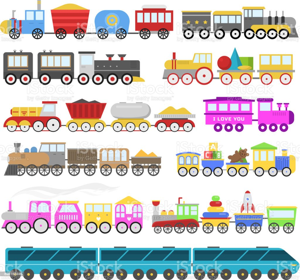 Kids train vector cartoon baby railroad toy or railway game with locomotive gifted on happy birthday to child in childhood kids toys isolated on white background illustration vector art illustration