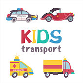 Children's transport collection. Vector illustration. Isolated on white background. A large set of road transport.