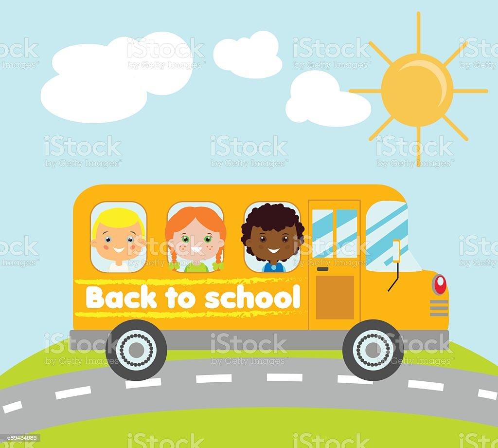 kids traveling in yellow school bus stock vector art more images