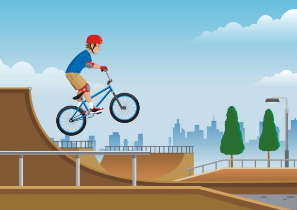 bildbanksillustrationer, clip art samt tecknat material och ikoner med barn umping på bmx cykel på skate park - skatepark