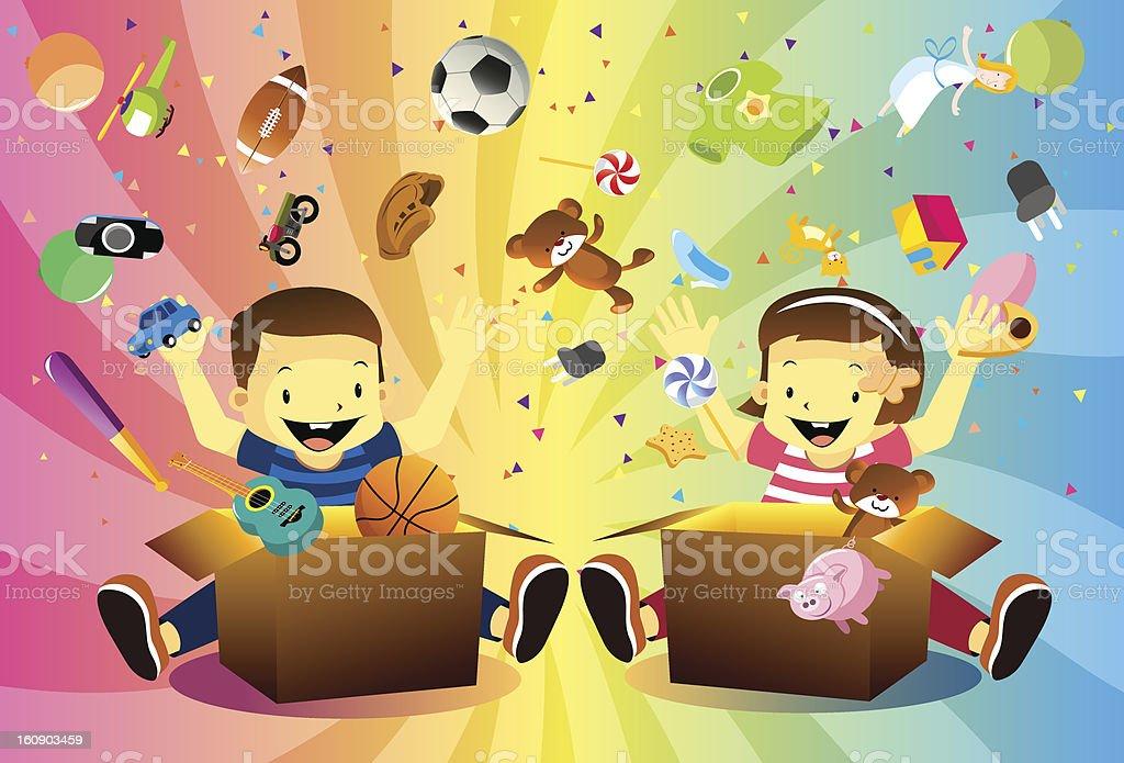 Crianças Desempacotar um embrulho de presente - ilustração de arte vetorial