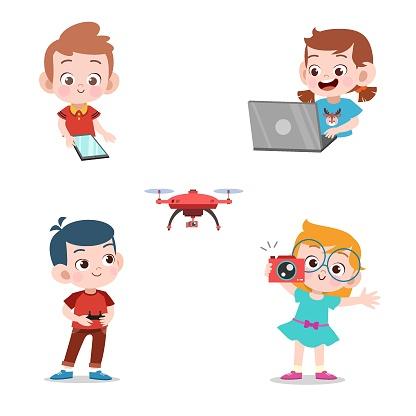kids using technology vector illustration