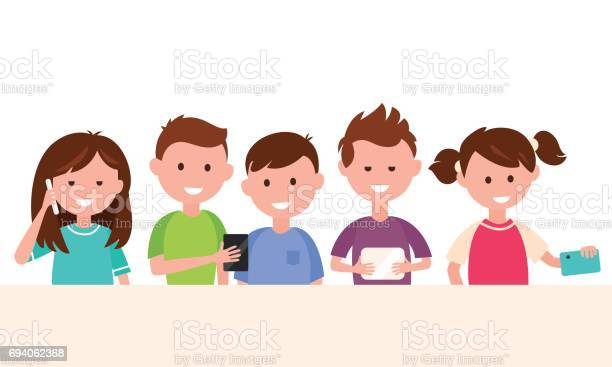 Kids using their gadgets children and technology concept illustration vector id694062368?b=1&k=6&m=694062368&s=612x612&h=cvr5qwaestkguutfnf6hwi9rydlw8sxt0qahv87aybs=