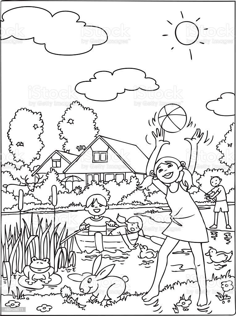 Kinder Urlaub Malbuch Stock Vektor Art und mehr Bilder von Ausmalen ...