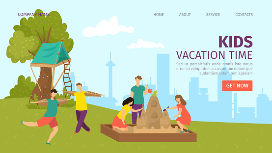 Kids vacation time, cartoon children have fun outdoor vector illustration. Child character activity, template banner. Kid playing at flat summer park,