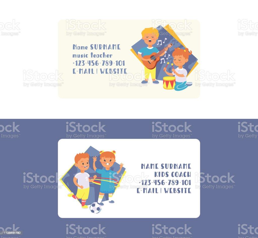 Kids Vector Visitenkarte Cartoon Junge Charaktere Kinder
