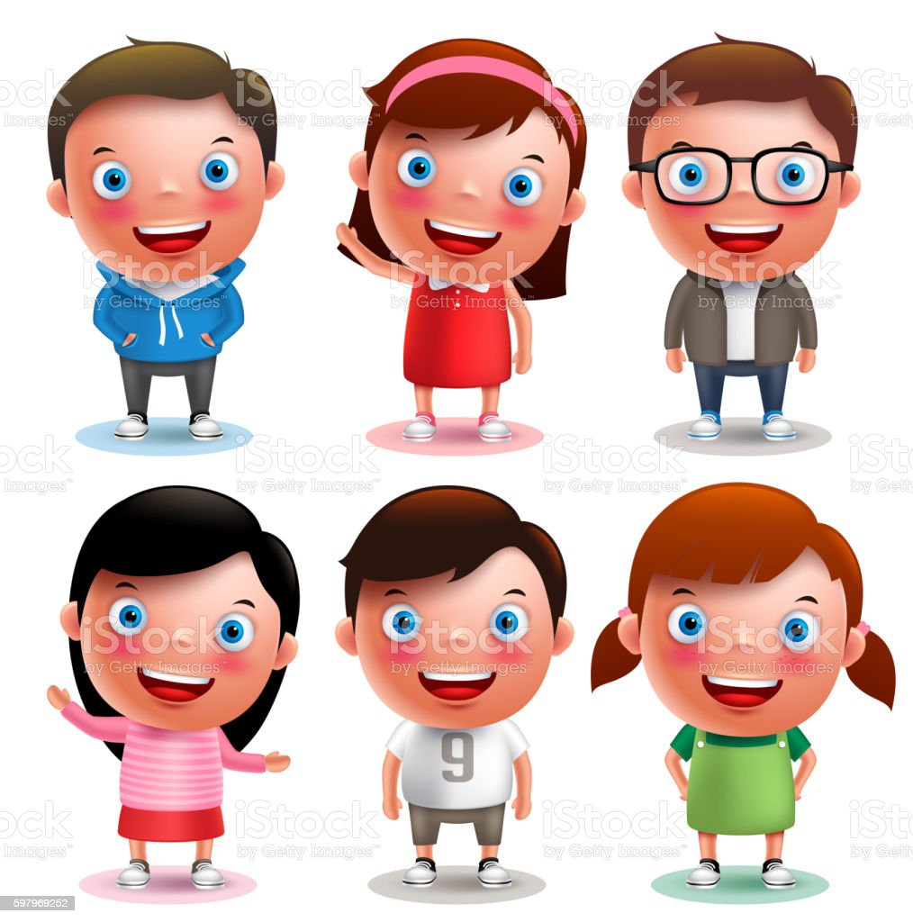 Kids vector characters boys and girls set with different outfits vektör sanat illüstrasyonu