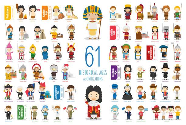 stockillustraties, clipart, cartoons en iconen met kinderen vector characters-collectie: set van 61 historische leeftijden en beschavingen in cartoon stijl. - geschiedenis
