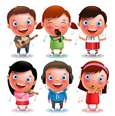 Kids vector characters playing musical instruments like guitar