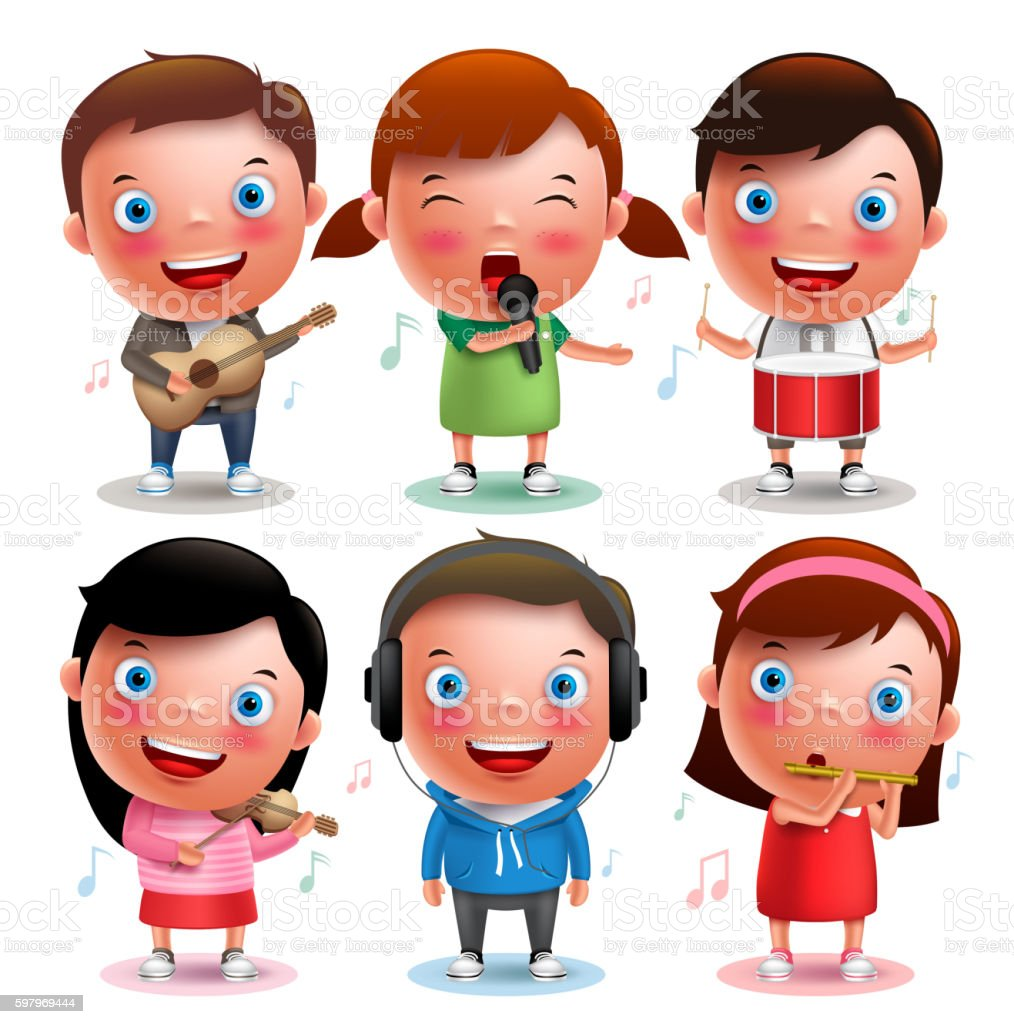 Kids vector characters playing musical instruments like guitar vektör sanat illüstrasyonu